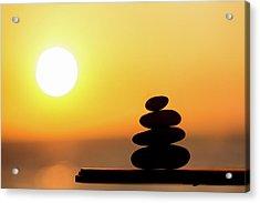 Pile Of Stone At Sunset Acrylic Print by Wladimir Bulgar