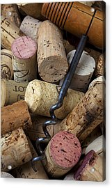 Pile Of Wine Corks With Corkscrew Acrylic Print by Garry Gay