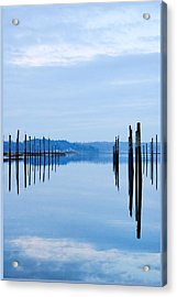 Pilings At Sea With Floating Docks Acrylic Print by Tom Reese, www.wowography.com