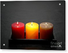 Pillar Candles Acrylic Print by Olivier Le Queinec
