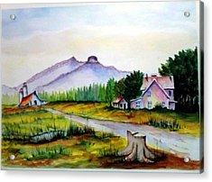 Acrylic Print featuring the painting Pilot Mountain Nc Farm Scene by Richard Benson