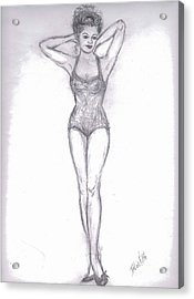 Acrylic Print featuring the drawing Pin Up Girl by Desline Vitto