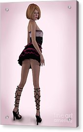 Pin Up In Pink Acrylic Print