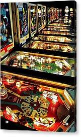Pinball Arcade Acrylic Print by Benjamin Yeager