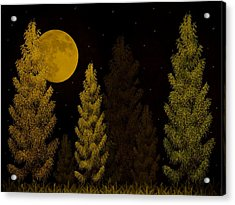 Pine Forest Moon Acrylic Print
