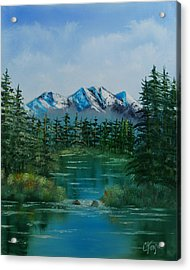 Acrylic Print featuring the painting Pine Lake by Chris Fraser