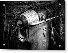 Pine Needles On Tail Light In Black And White Acrylic Print