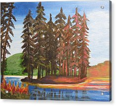 Acrylic Print featuring the painting Pine Tree Island by Diana Riukas