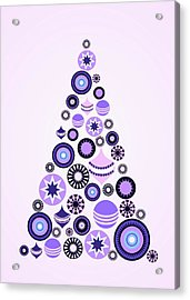 Pine Tree Ornaments - Purple Acrylic Print