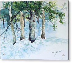 Pine Trees And Snow Acrylic Print
