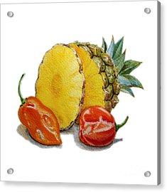 Pineapple And Habanero Peppers  Acrylic Print by Irina Sztukowski