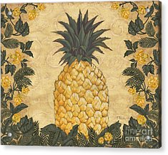 Pineapple Floral Acrylic Print by Paul Brent
