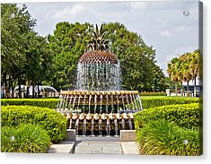 Pineapple Fountain In Waterfront Park Acrylic Print