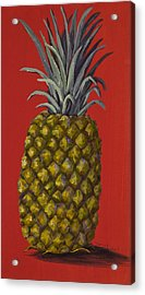 Pineapple On Red Acrylic Print