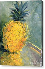 Pineapple On Soft Green Acrylic Print