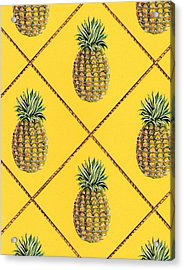 Pineapple Squared Textile Pattern Acrylic Print