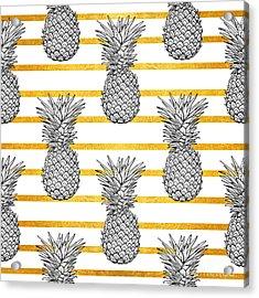 Pineapple Tropical Vector Seamless Acrylic Print