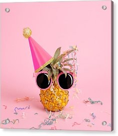 Pineapple Wearing A Party Hat And Acrylic Print by Juj Winn