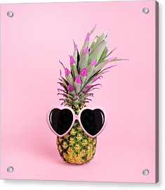 Pineapple Wearing Sunglasses Acrylic Print by Juj Winn
