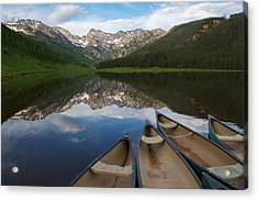 Piney Lake Canoes Acrylic Print by Aaron Spong