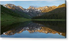 Piney Lake Sunset Panorama Acrylic Print by Aaron Spong