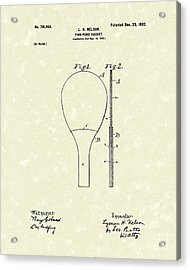 Ping-pong Racket 1902 Patent Art Acrylic Print by Prior Art Design
