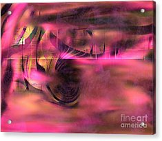 Acrylic Print featuring the painting Pink Abstract Nature by Yul Olaivar