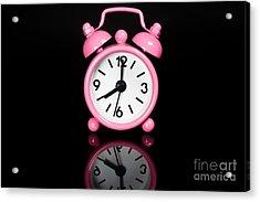Pink Alarm Clock Acrylic Print by Niphon Chanthana