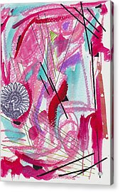 Pink And Black Lines Acrylic Print