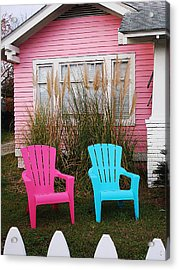 Pink And Blue Chairs By Jan Marvin Acrylic Print