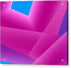 Pink And Blue Mixed Geometrical Art Acrylic Print by Mario Perez