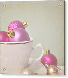Pink And Gold Christmas Baubles In China Cup. Acrylic Print by Lyn Randle