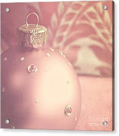 Pink And Gold Ornate Christmas Bauble Acrylic Print by Lyn Randle