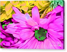 Pink And Green Flowers Acrylic Print by LLaura Burge