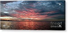 Pink And Grey At Sea - Sunrise Panorama  Acrylic Print by Geoff Childs