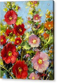Pink And Red In The Flower Bed Acrylic Print by Bill Inman