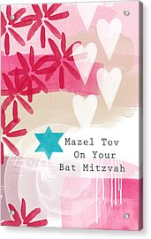 Pink And White Bat Mitzvah- Greeting Card Acrylic Print by Linda Woods