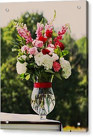 Pink And White Bouquet In Sepia Acrylic Print