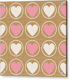 Pink And White Hearts Acrylic Print by Linda Woods