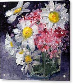 Pink And White Acrylic Print by Nancy Merkle