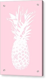 Pink And White Pineapple Acrylic Print by Linda Woods