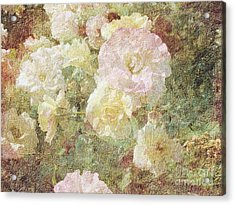 Pink And White Roses With Tapestry Look Acrylic Print