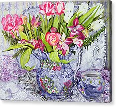 Pink And White Tulips Orchids And Blue Antique China Acrylic Print by Joan Thewsey