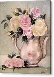 Pink And Yellow Roses In Teapot Painting Acrylic Print