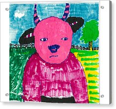 Acrylic Print featuring the drawing Pink Baby Bull by Don Koester