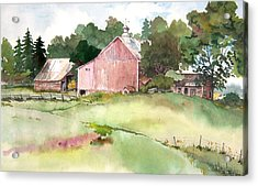 Acrylic Print featuring the painting Pink Barn by Susan Crossman Buscho