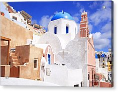Pink Bell Tower And Blue Dome Church Acrylic Print