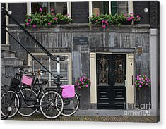 Pink Bikes Of Amsterdam Acrylic Print by Mary-Lee Sanders