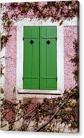 Acrylic Print featuring the photograph Pink Building With Green Shutters by Mary Bedy