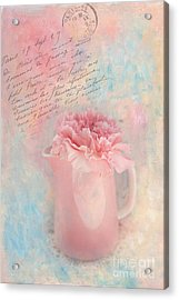 Pink Carnation In Pitcher Acrylic Print